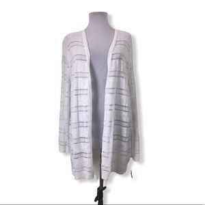 Charter Club Open Crochet Cardigan Sweater White